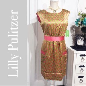 Lilly Pulitzer Kimball Silk Houndstooth Dress